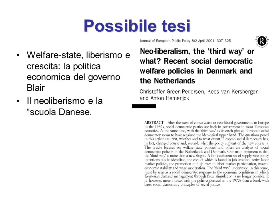 Possibile tesi Welfare-state, liberismo e crescita: la politica economica del governo Blair.
