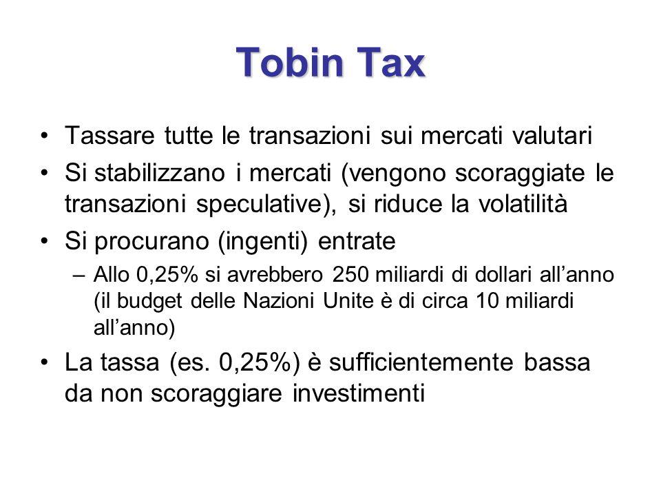 Tobin Tax Tassare tutte le transazioni sui mercati valutari