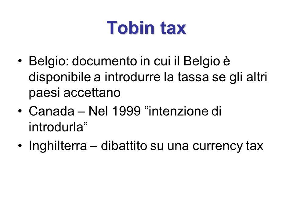 Tobin tax Belgio: documento in cui il Belgio è disponibile a introdurre la tassa se gli altri paesi accettano.