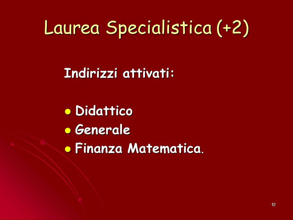 Laurea Specialistica (+2)