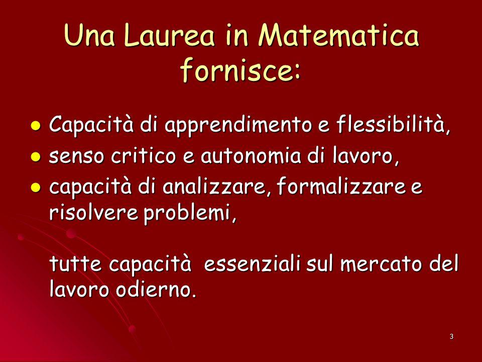 Una Laurea in Matematica fornisce: