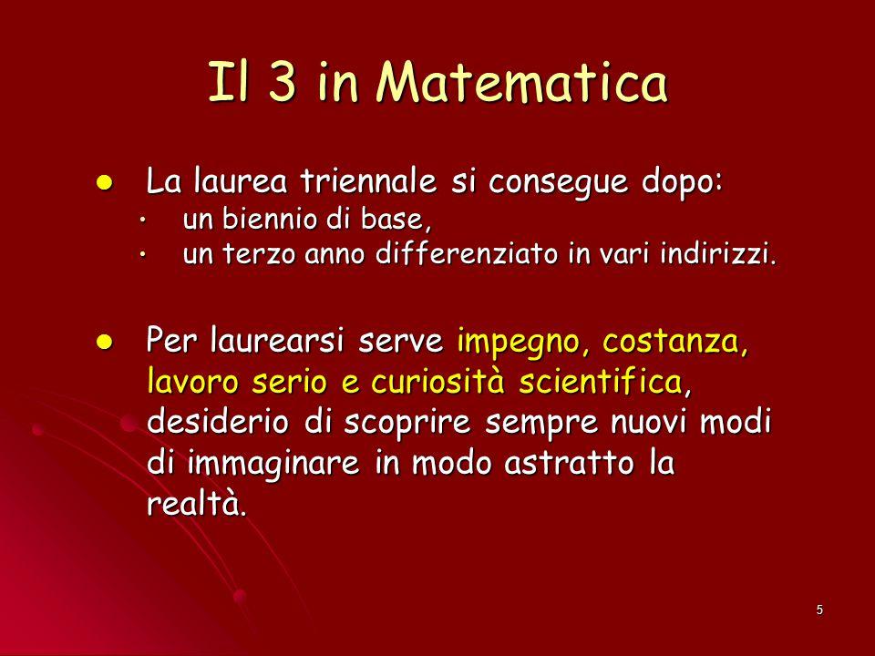 Il 3 in Matematica La laurea triennale si consegue dopo: