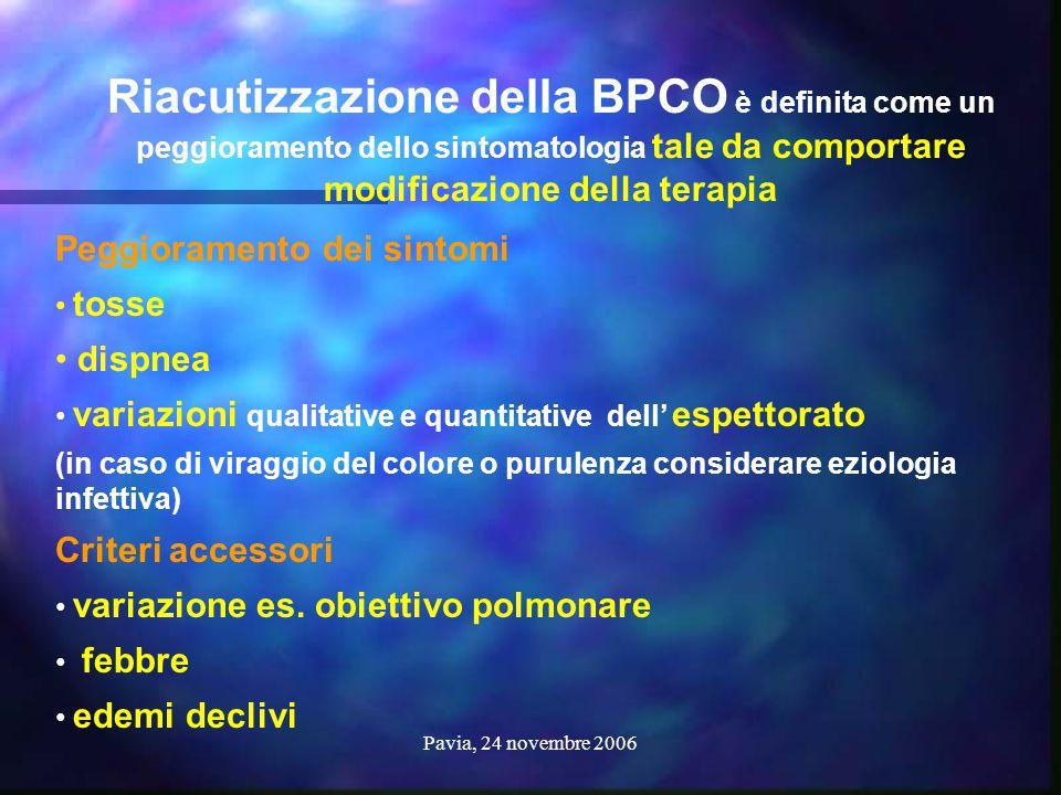 Riacutizzazione della BPCO è definita come un peggioramento dello sintomatologia tale da comportare modificazione della terapia