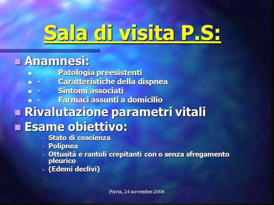 Sala di visita P.S: Anamnesi: Rivalutazione parametri vitali