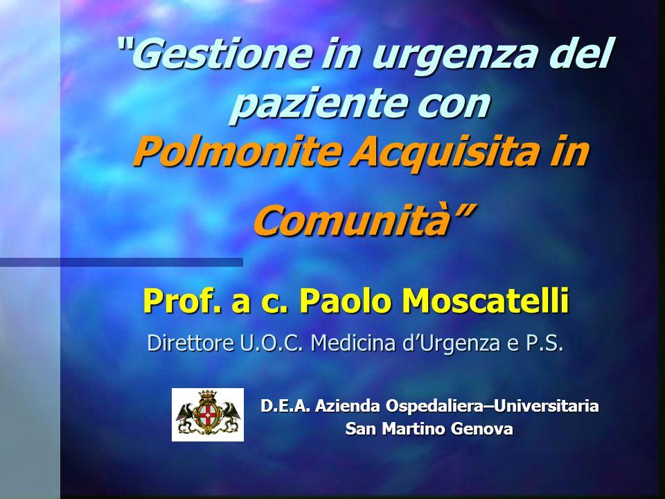 Gestione in urgenza del paziente con Polmonite Acquisita in Comunità