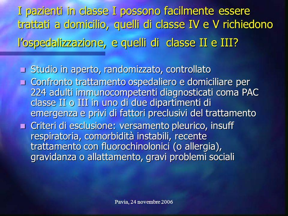I pazienti in classe I possono facilmente essere trattati a domicilio, quelli di classe IV e V richiedono l'ospedalizzazione, e quelli di classe II e III