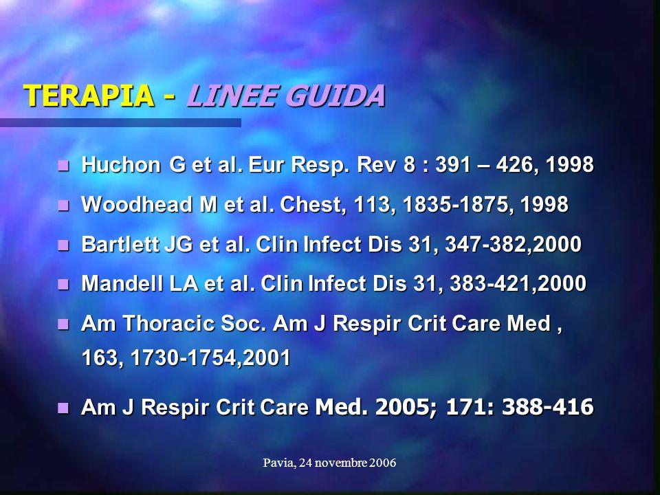 TERAPIA - LINEE GUIDA Huchon G et al. Eur Resp. Rev 8 : 391 – 426, 1998. Woodhead M et al. Chest, 113, 1835-1875, 1998.