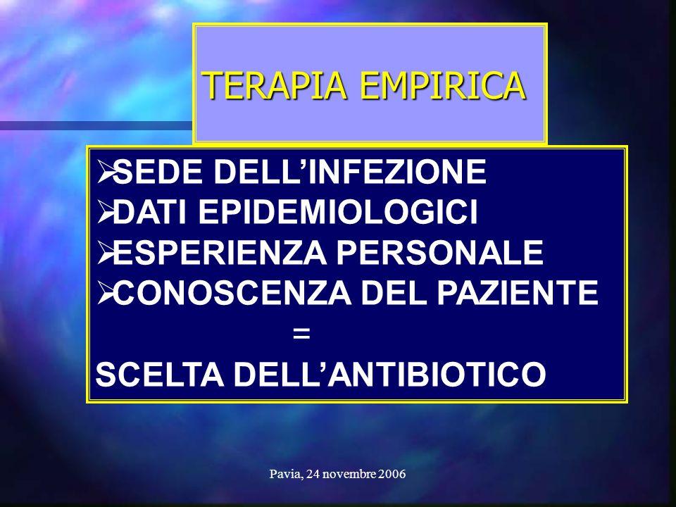 TERAPIA EMPIRICA SEDE DELL'INFEZIONE DATI EPIDEMIOLOGICI