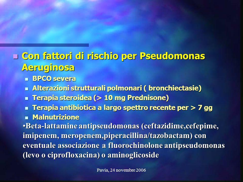 Con fattori di rischio per Pseudomonas Aeruginosa