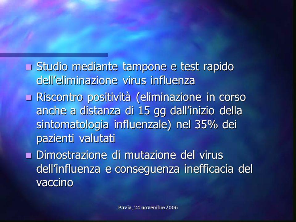 Studio mediante tampone e test rapido dell'eliminazione virus influenza