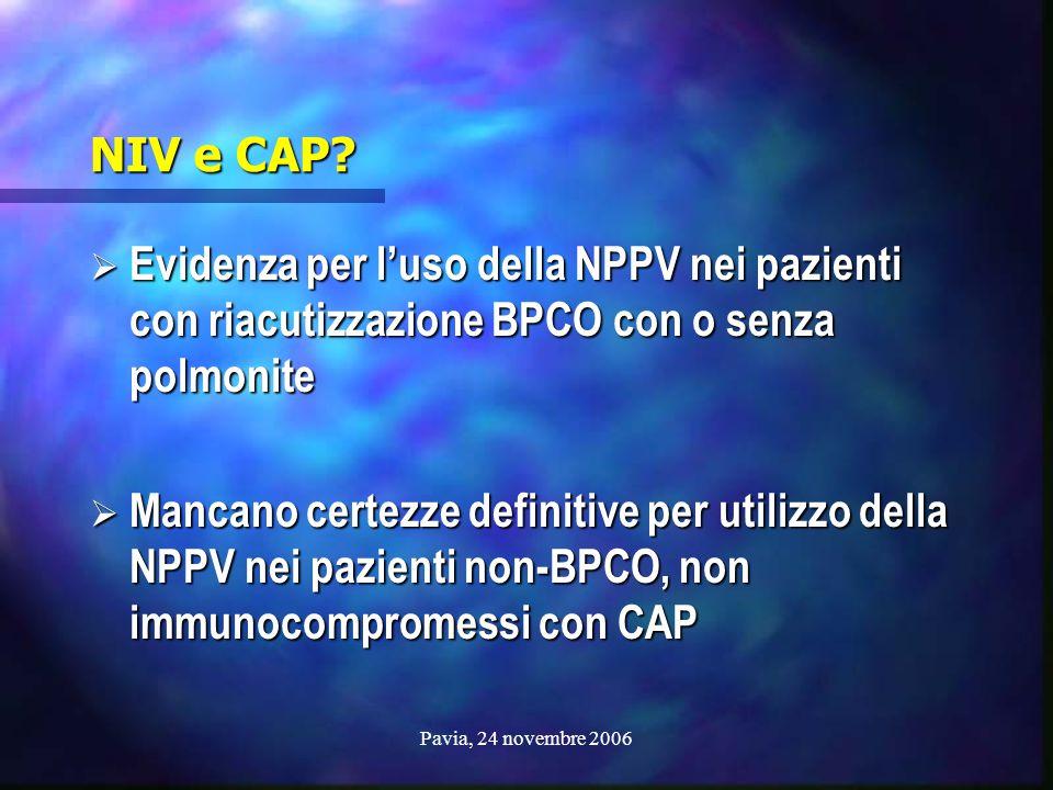 NIV e CAP Evidenza per l'uso della NPPV nei pazienti con riacutizzazione BPCO con o senza polmonite.