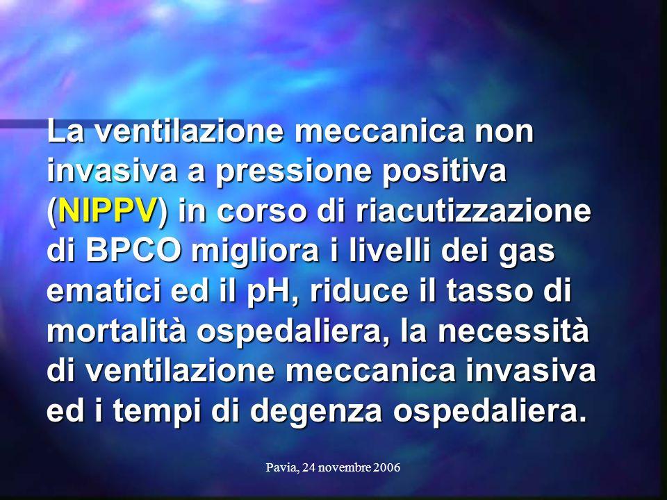 La ventilazione meccanica non invasiva a pressione positiva (NIPPV) in corso di riacutizzazione di BPCO migliora i livelli dei gas ematici ed il pH, riduce il tasso di mortalità ospedaliera, la necessità di ventilazione meccanica invasiva ed i tempi di degenza ospedaliera.