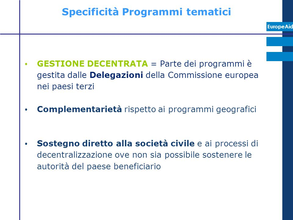 Specificità Programmi tematici