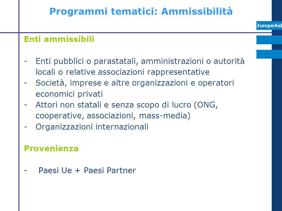 Programmi tematici: Ammissibilità