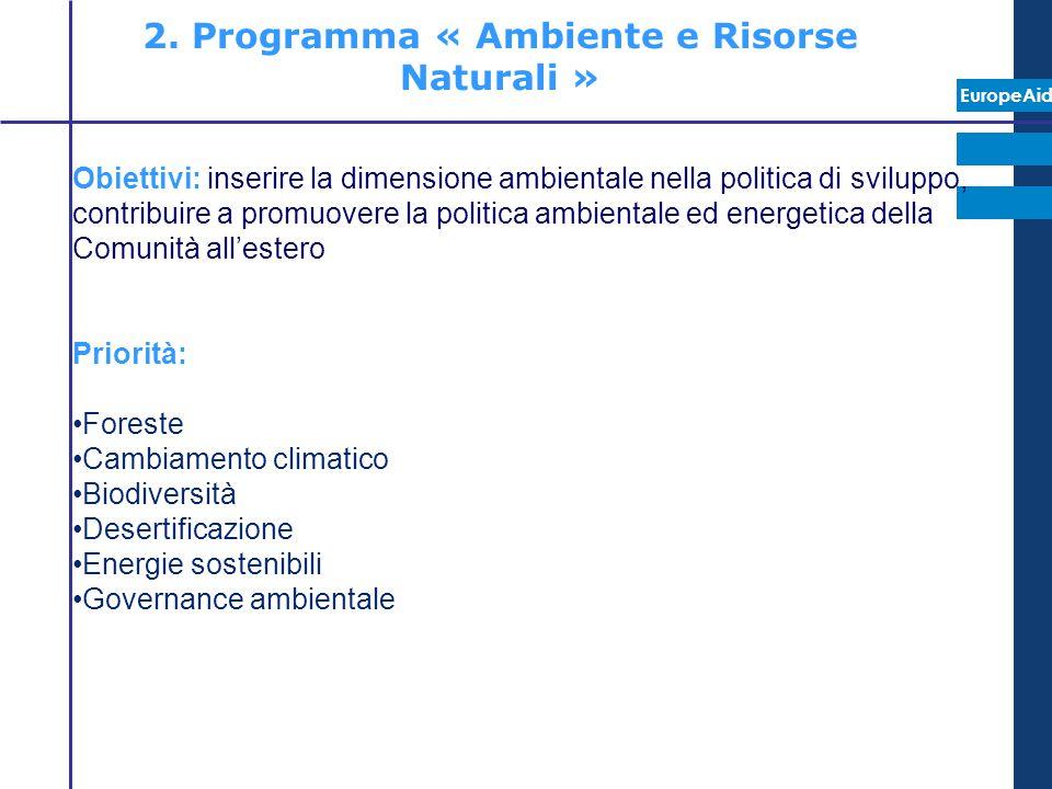 2. Programma « Ambiente e Risorse Naturali »