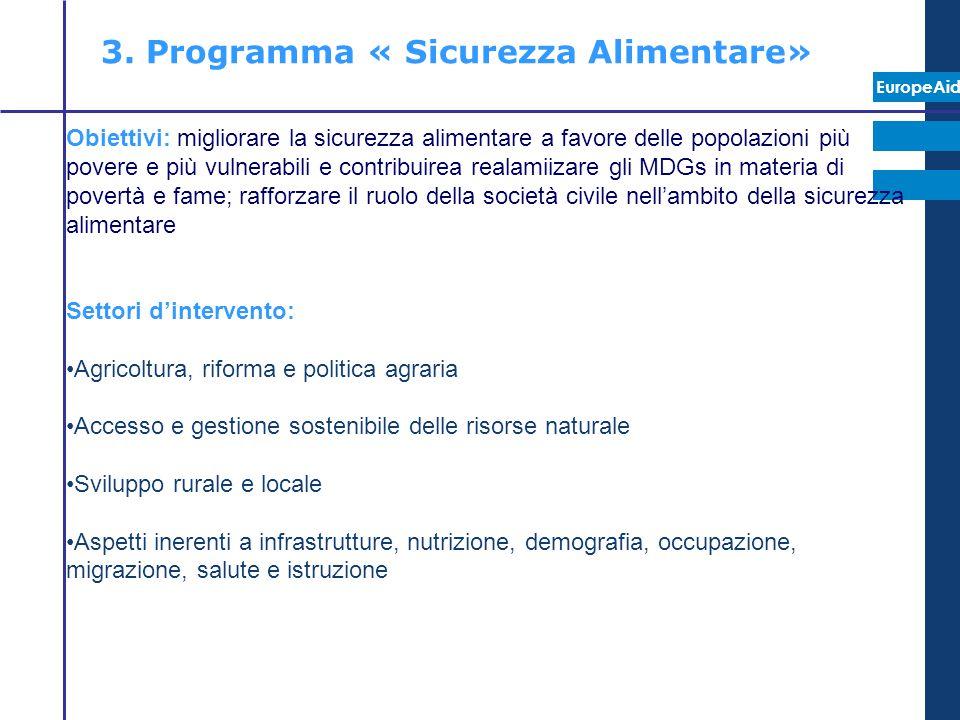 3. Programma « Sicurezza Alimentare»