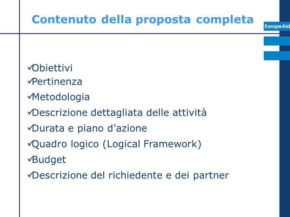 Contenuto della proposta completa