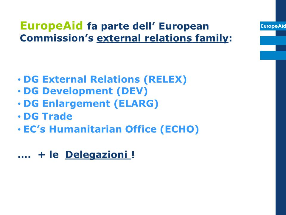 EuropeAid fa parte dell' European Commission's external relations family: