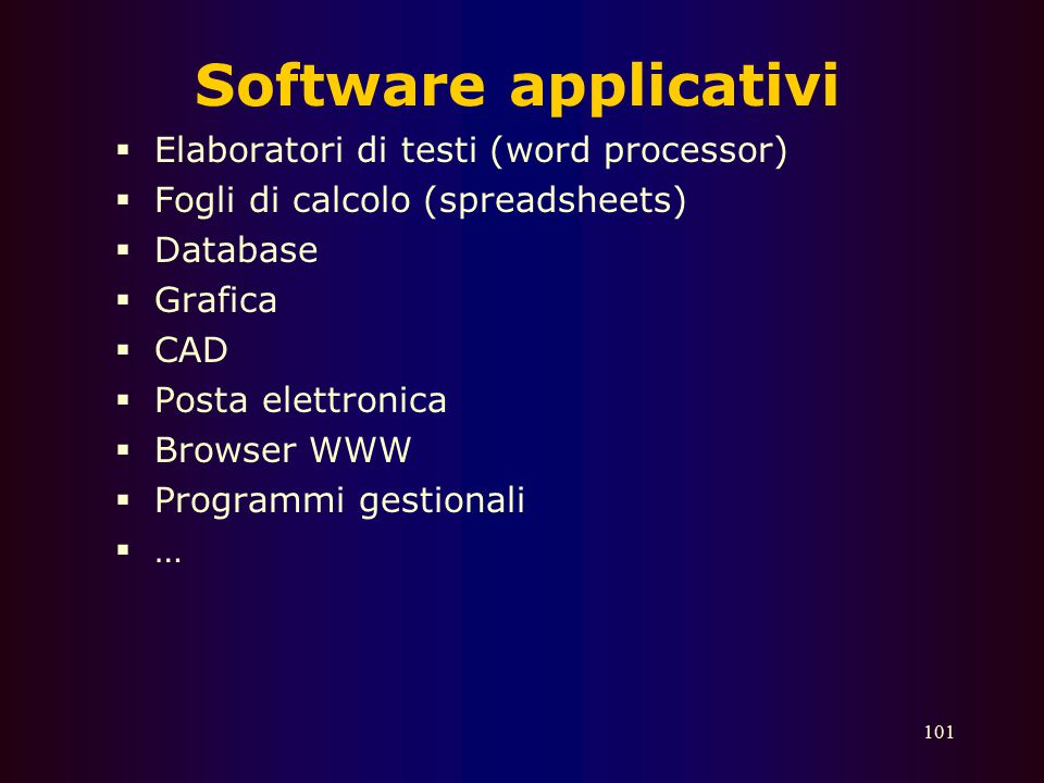 Software applicativi Elaboratori di testi (word processor)