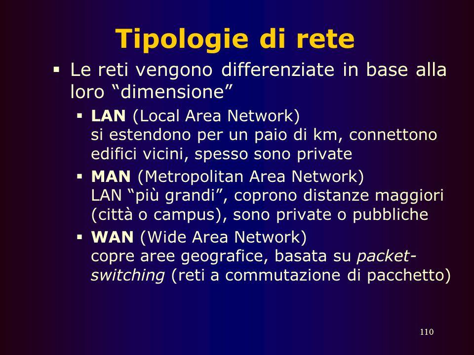 Tipologie di rete Le reti vengono differenziate in base alla loro dimensione