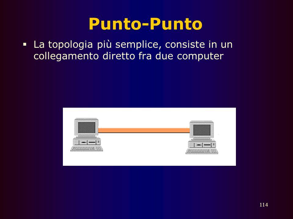 Punto-Punto La topologia più semplice, consiste in un collegamento diretto fra due computer