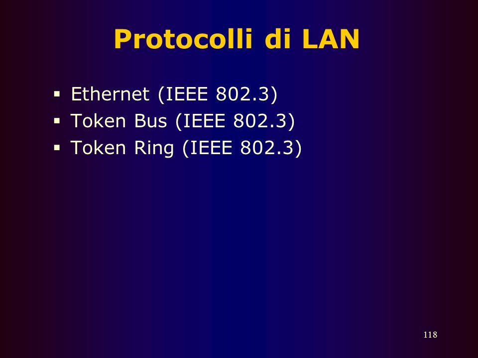 Protocolli di LAN Ethernet (IEEE 802.3) Token Bus (IEEE 802.3)
