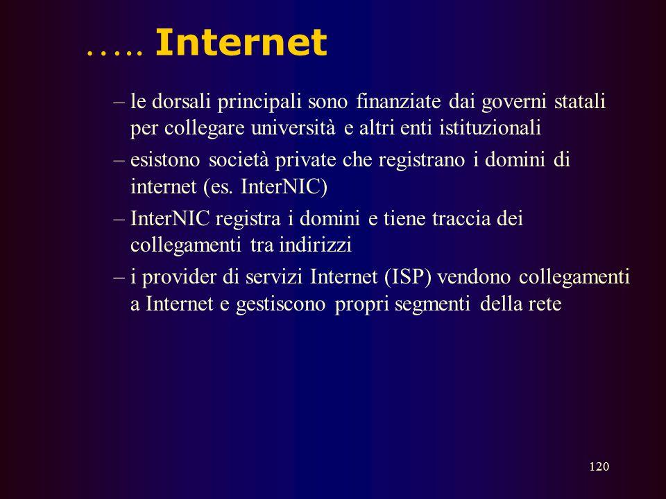 ….. Internet le dorsali principali sono finanziate dai governi statali per collegare università e altri enti istituzionali.