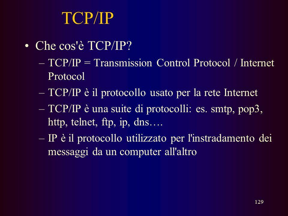 TCP/IP Che cos è TCP/IP TCP/IP = Transmission Control Protocol / Internet Protocol. TCP/IP è il protocollo usato per la rete Internet.