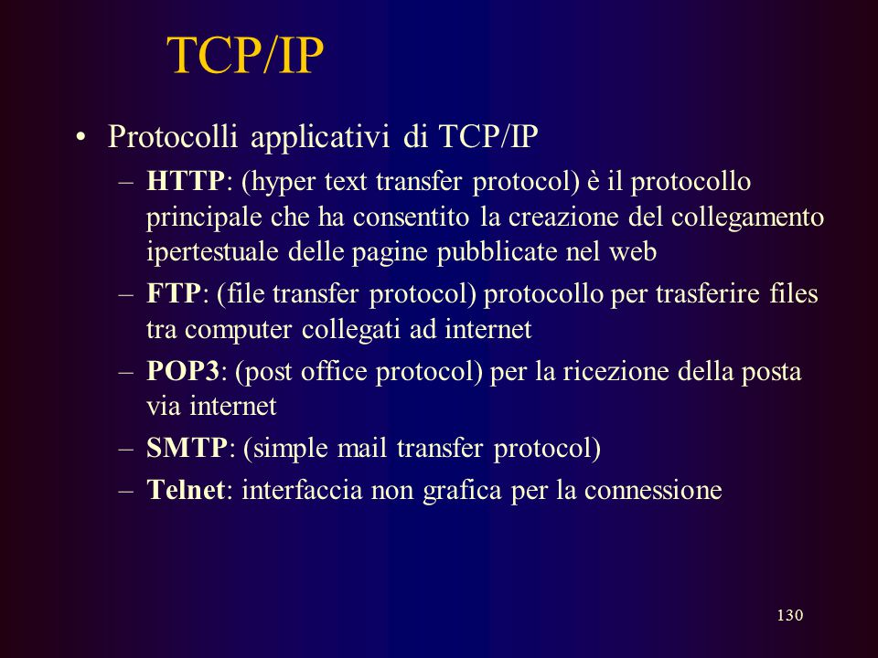TCP/IP Protocolli applicativi di TCP/IP