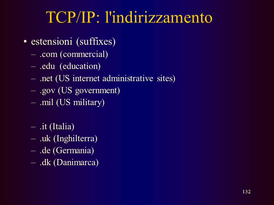 TCP/IP: l indirizzamento