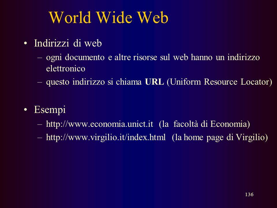 World Wide Web Indirizzi di web Esempi