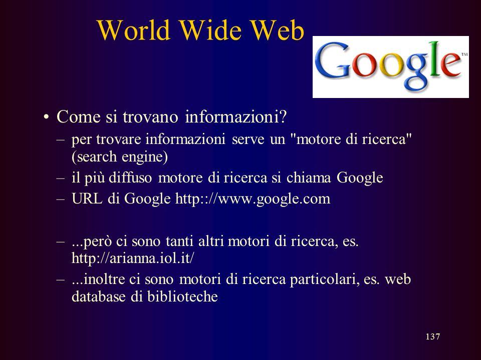 World Wide Web Come si trovano informazioni