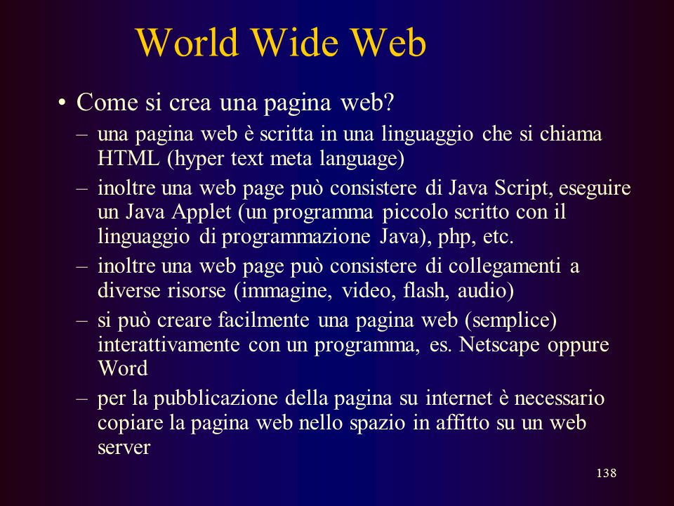 World Wide Web Come si crea una pagina web