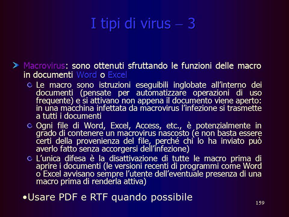 I tipi di virus  3 Usare PDF e RTF quando possibile