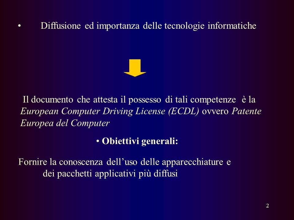 Diffusione ed importanza delle tecnologie informatiche