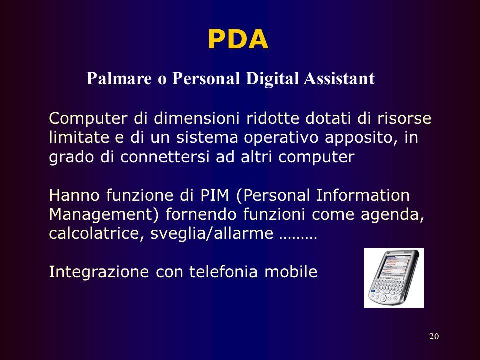 PDA Palmare o Personal Digital Assistant