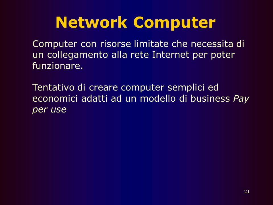 Network Computer Computer con risorse limitate che necessita di un collegamento alla rete Internet per poter funzionare.