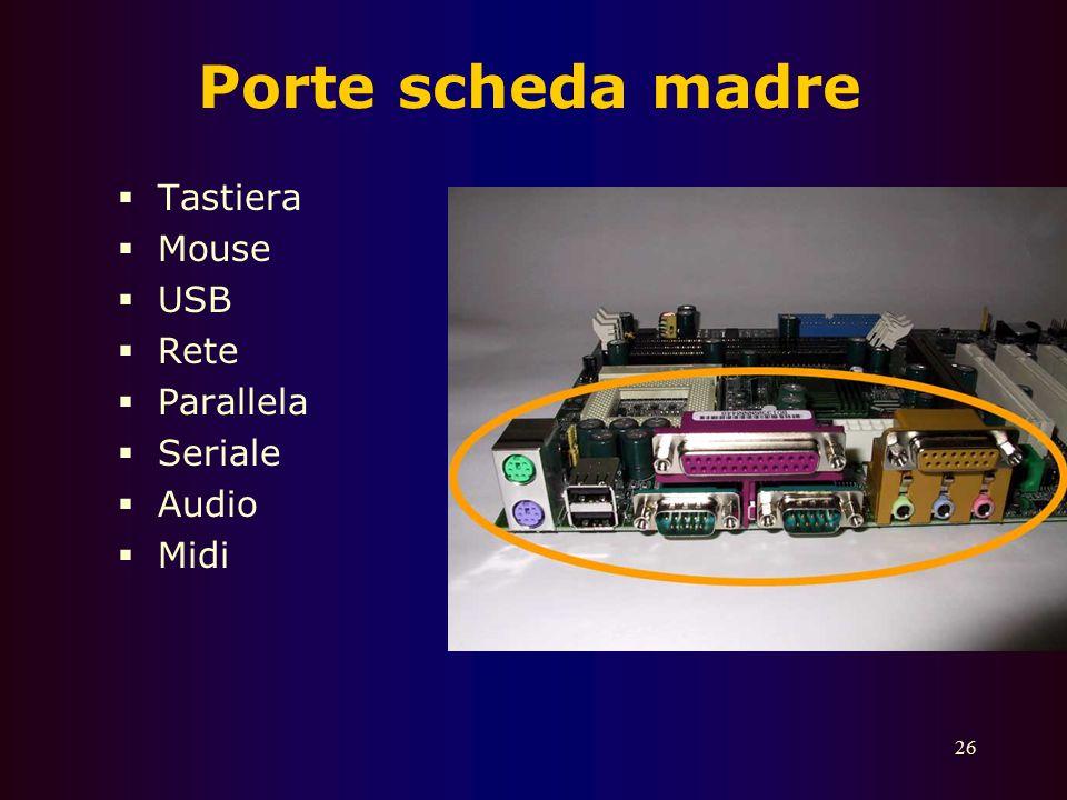 Porte scheda madre Tastiera Mouse USB Rete Parallela Seriale Audio