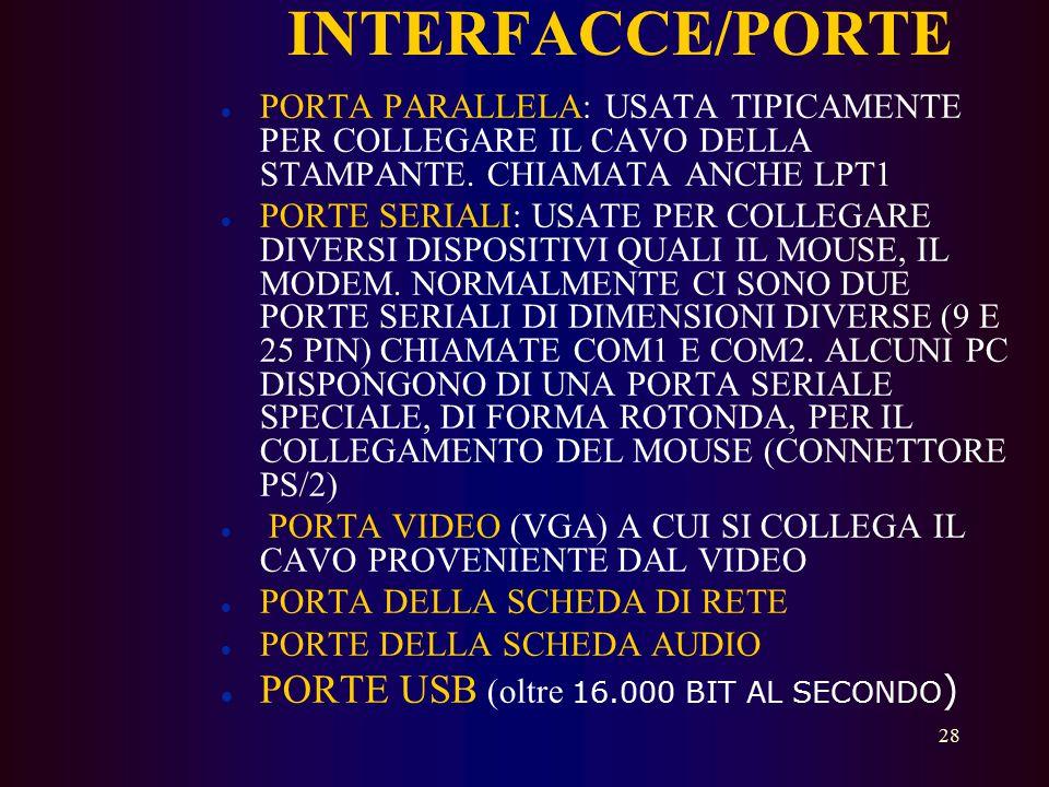 INTERFACCE/PORTE PORTE USB (oltre 16.000 BIT AL SECONDO)