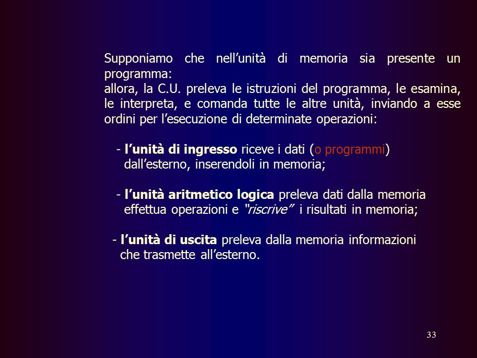 Supponiamo che nell'unità di memoria sia presente un programma: