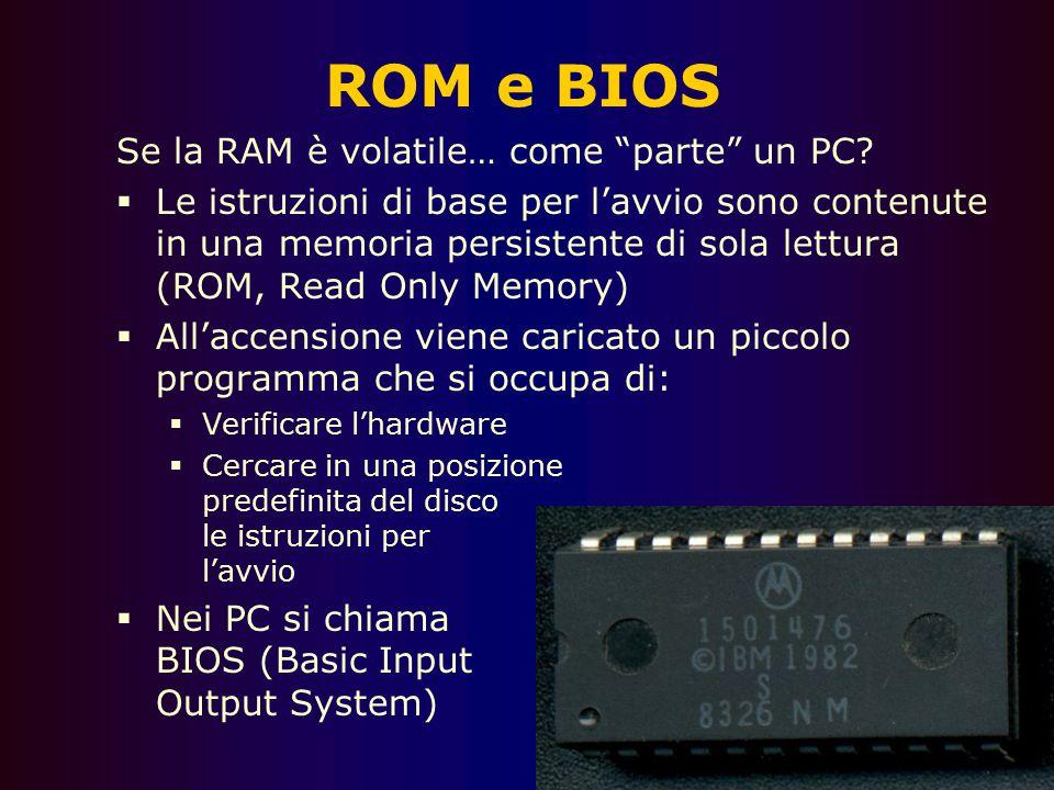 ROM e BIOS Se la RAM è volatile… come parte un PC
