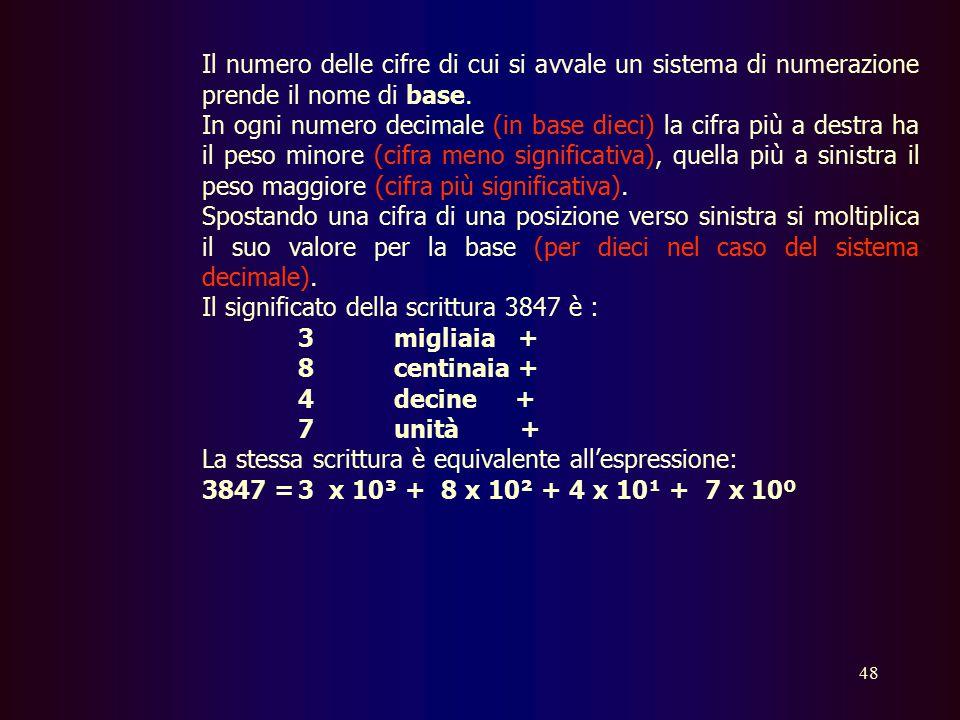 Il numero delle cifre di cui si avvale un sistema di numerazione prende il nome di base.