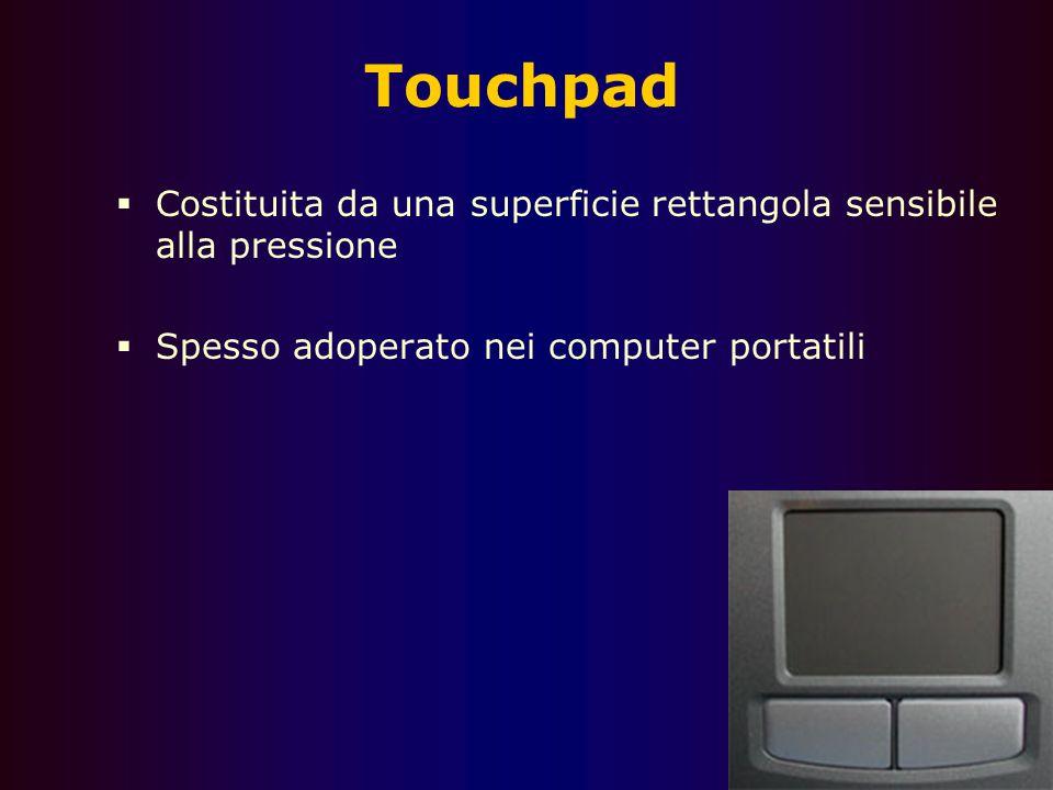 Touchpad Costituita da una superficie rettangola sensibile alla pressione.