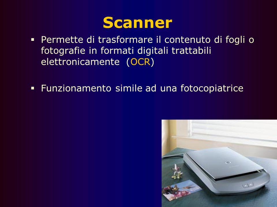 Scanner Permette di trasformare il contenuto di fogli o fotografie in formati digitali trattabili elettronicamente (OCR)