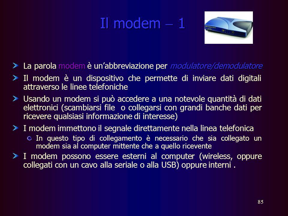 Il modem  1 La parola modem è un'abbreviazione per modulatore/demodulatore.