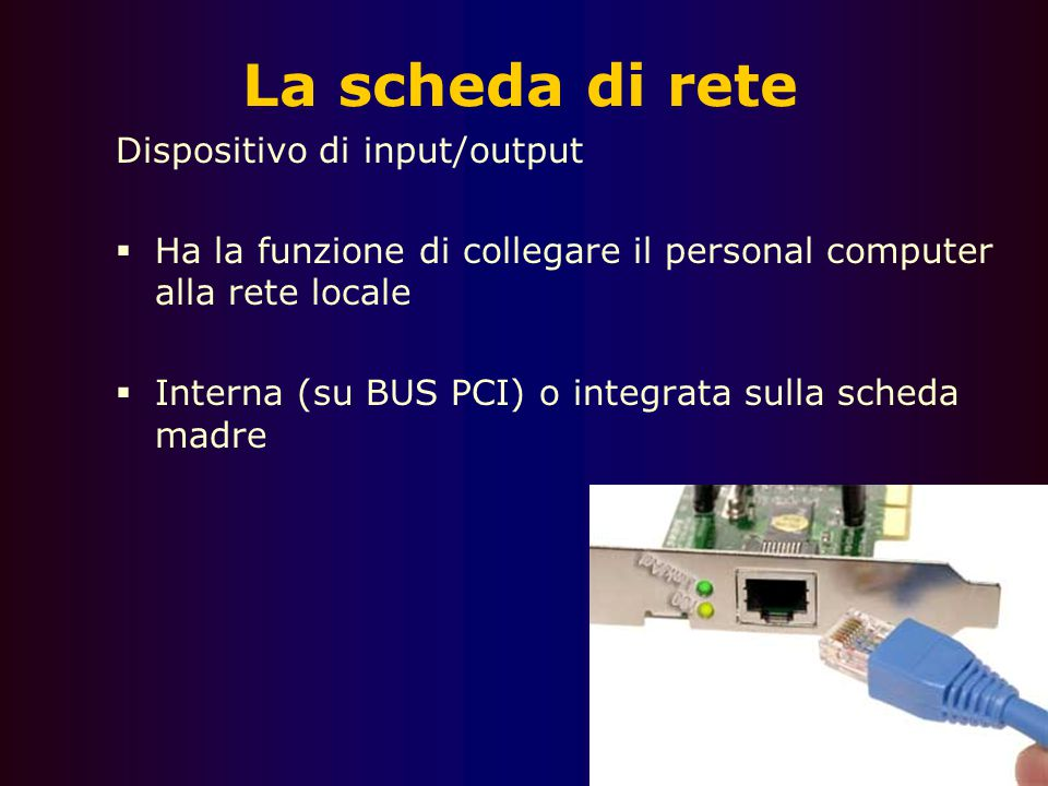 La scheda di rete Dispositivo di input/output