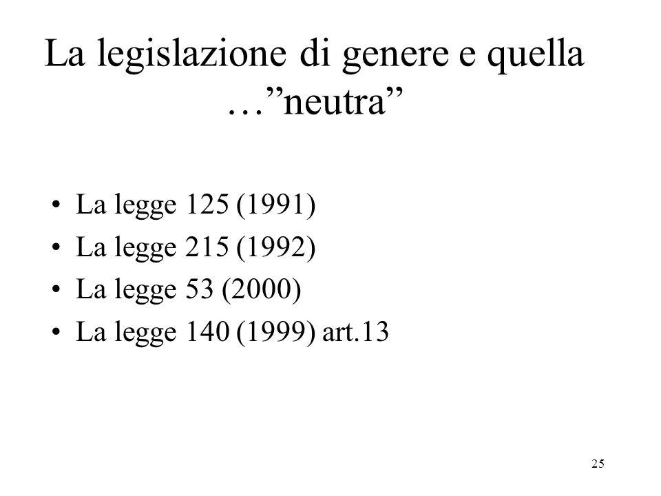 La legislazione di genere e quella … neutra