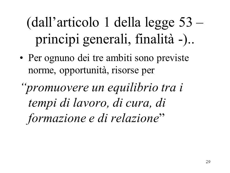 (dall'articolo 1 della legge 53 – principi generali, finalità -)..