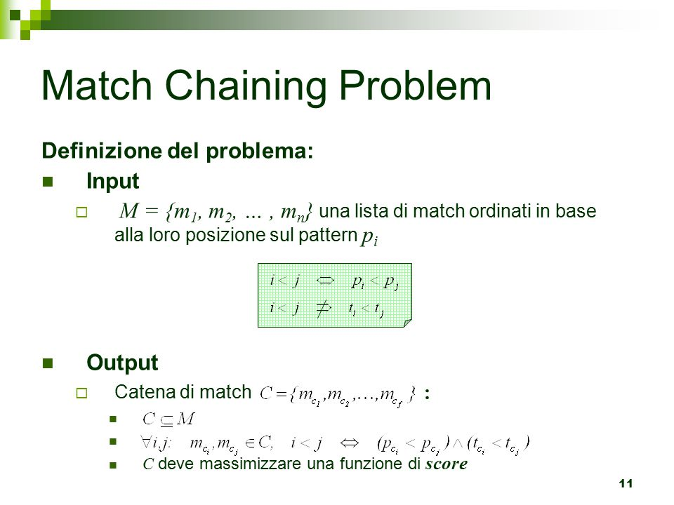 Match Chaining Problem