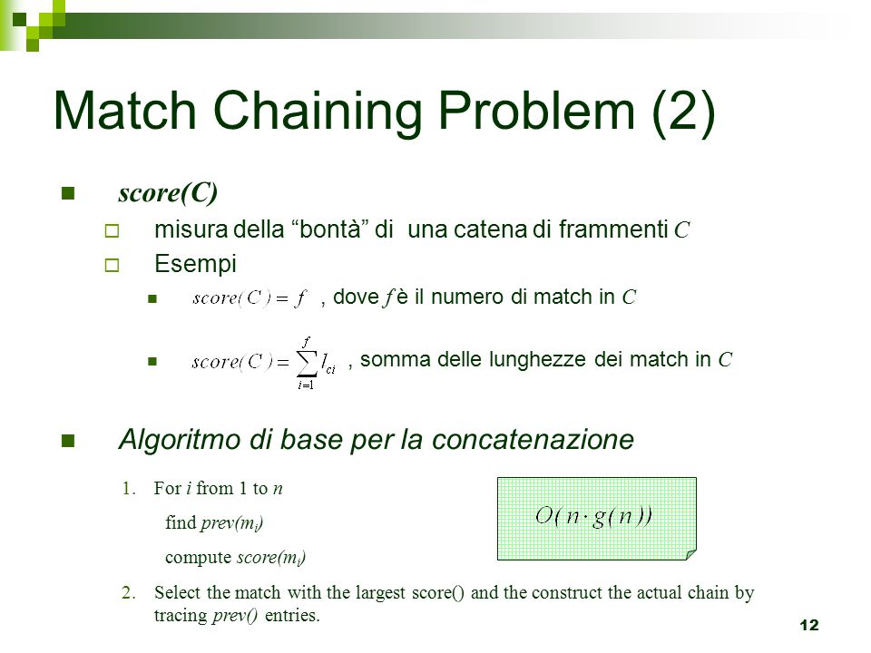 Match Chaining Problem (2)